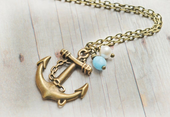 Anchor Jewelry Anchor Necklace Nautical Jewelry Vintage Pearl Turquoise Czech Glass Preppy Beach Wedding