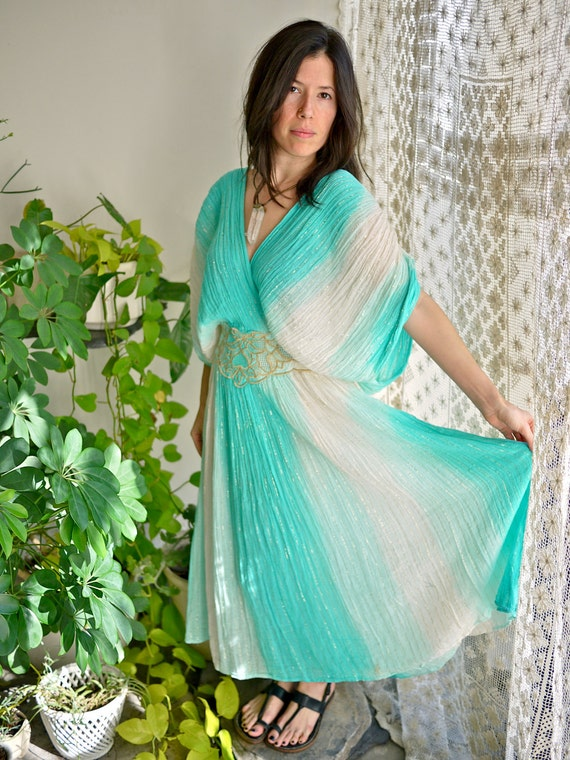 Boho Turquoise Greek Ombre Cotton Dress with Metallic Gold Threading