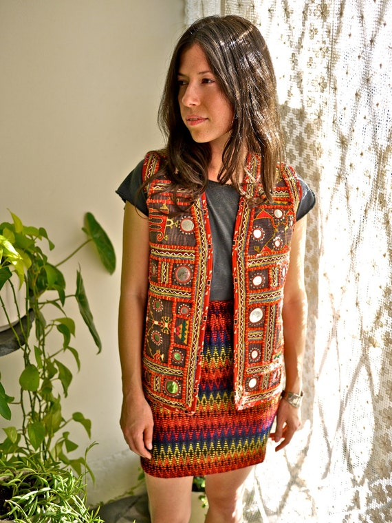 RESERVED.....Vintage Indian Mirror Vest with Embroidery