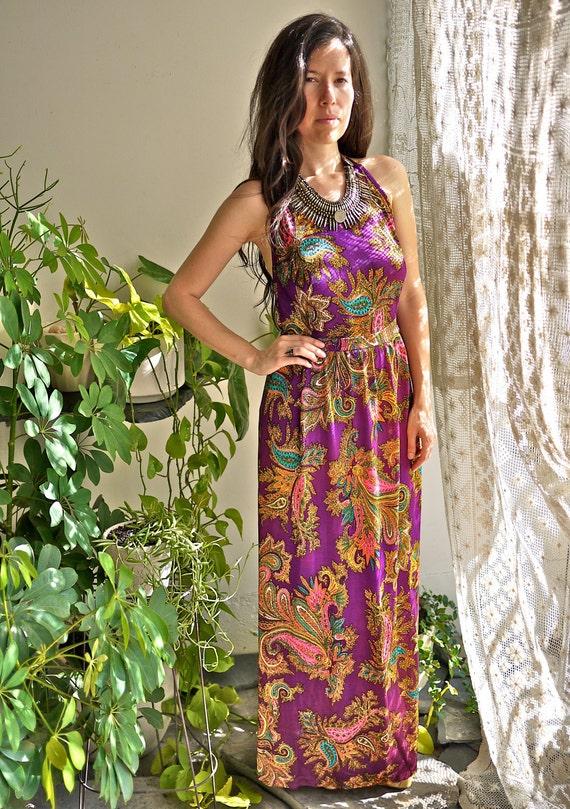 70s Purple Paisley Halter Dress