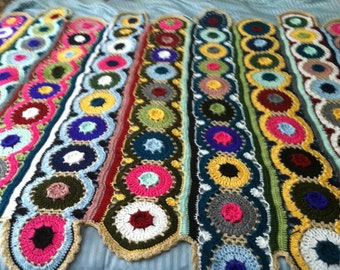 Custom Colors Crochet Circles Afghan. Bright, Bold, Beautiful.Free Shipping