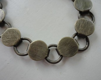 20 Antiqued Brass Plated Disk and Loop Bracelets with Glueable Pads