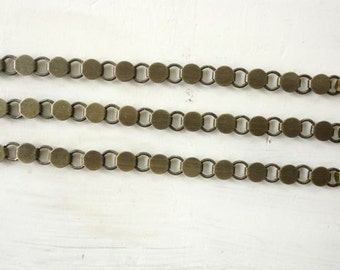 3 Antique Brass Plated Disk and Loop Bracelets with Glueable Pads