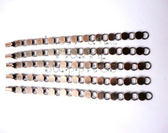 50 Antiqued Copper Plated Disk and Loop Bracelets with Glueable Pads