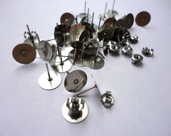 100 pieces Stainless Steel 8mm Flat Pad Earring Posts and Backs