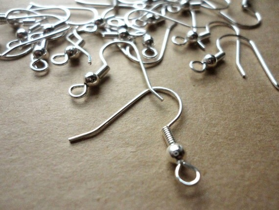 48 pieces (24 pair) // Silver Plated French Hook Ear Wire Earring Hook