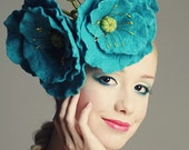 FINAL SALE 30% OFF - Blue Himalayan Poppy fascinator hat with merino wool and chiffon silk