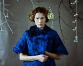 LAST SALE 30% OFF - Bright blue elegant mantel with merino and British wool locks