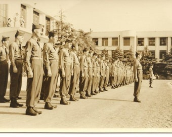 Vintage Photo Military Officers in Formation Camp Sakai, Japan Korean War Early 1950s