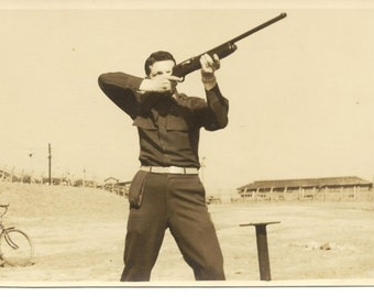 Vintage Photo Military Officer Shooting Gun Japan Early 1950s