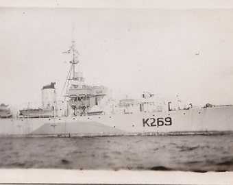 Photo Military Ship Royal Canadian Navy Ship K269 Frigate of River Class Early 1940s