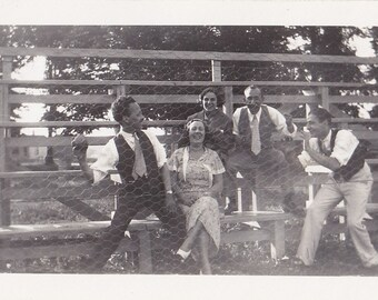 Friends Laughing Playing with Baseball Vintage Photo 1933