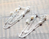 Sterling Silver Double Chain with Rough Diamond Earrings