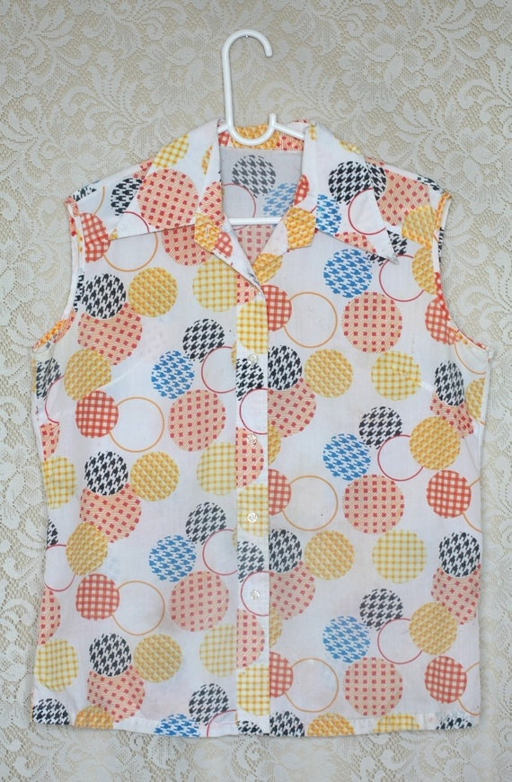 SALE Vintage Colorful Multi Pattern Sleeveless Button Up