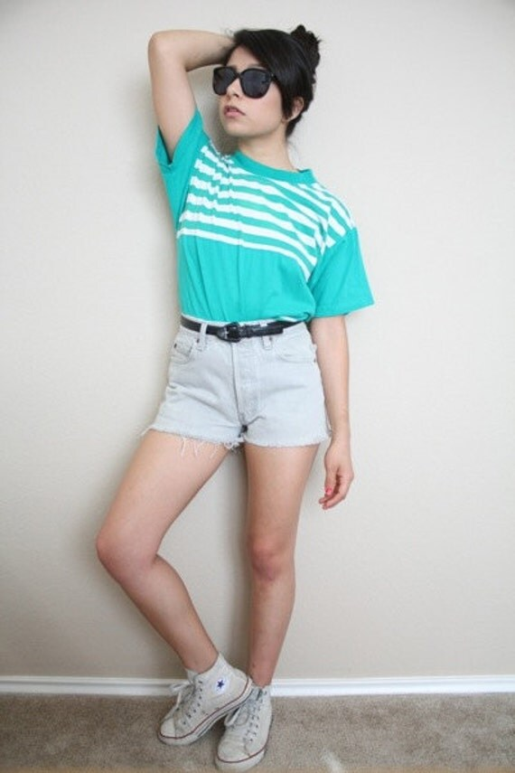 80s Vintage Green With White Stripes T-shirt