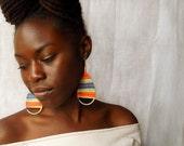 Urban Hemp Collection - Rainbow colored hemp thread wrapped wire teardrop earrings