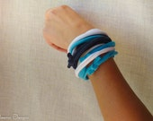 Upcycled Shabby Chic cuff bracelet in navy, bright blue and white jersey