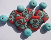 Lampwork bead set ,SRA,fhfteam Retro Roger beads, orange and tourquoise