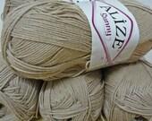 Beige cotton yarn, Each skein: 100 gr, knitting yarn, crochet yarn