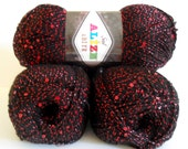 black red sequin yarn,  black red yarn , 1 Skeins, Each skein: 100 gr