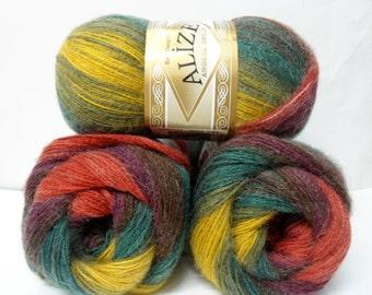 multicolor,  wool, mohair ,acrylic,  yarn,  1 Skeins, Each skein: 100 gr