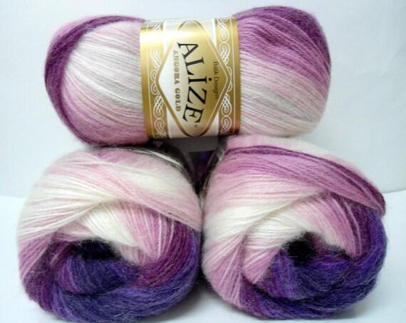 pink, Ivory, Fandango, Purple, Heart violet,  wool, mohair, acrylic,  yarn,  1 Skeins, Each skein: 100 gr