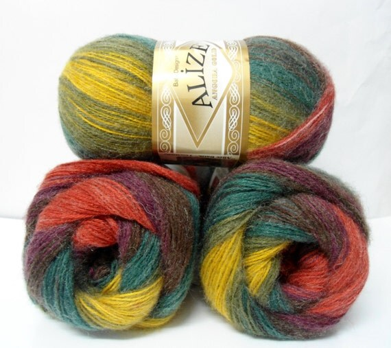 multicolor,  wool, mohair ,acrylic,  yarn,  1 Skeins, Each skein: 100 gr