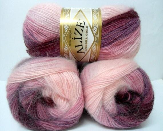multicolor, pink, Plum, Maroon , wool, mohair ,acrylic,  yarn,  3 Skeins, Each skein: 100 gr