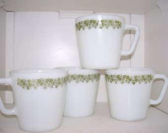 Pyrex Spring Blossom Green Mugs Set of 4