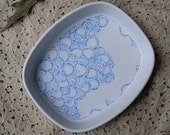 White ceramic dish with hand-painted India-inspired design - henna - decorative dish
