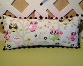 Baby Owls Pillow  in Pink, Green and Black