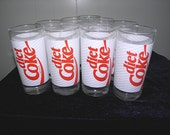 Set of nine vintage Diet Coke glasses