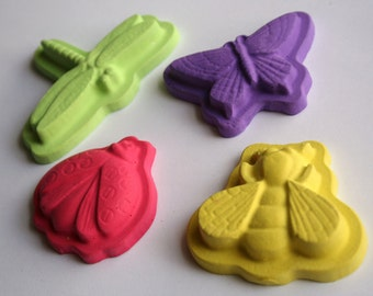 Bug Sidewalk Chalk - Set of 4 - Includes a ladybug, butterfly, bee and dragonfly