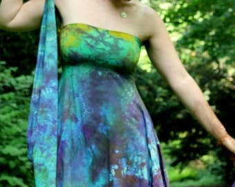 Organic bamboo asymmetrical woodland fairy dress hand dyed jersey or maternity S, M, L