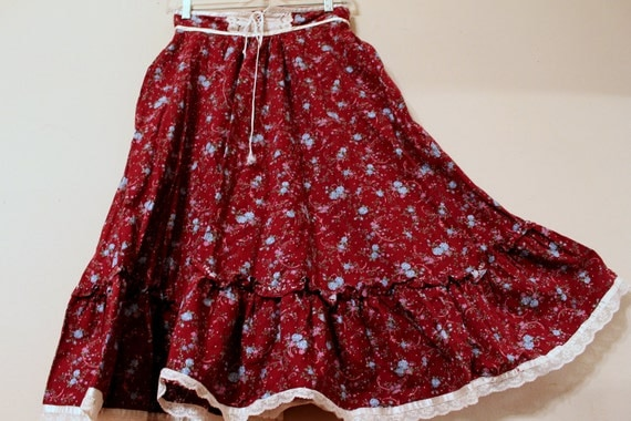Gunne Sax  boho bohemian prairie calico country hippie skirt size 9 small
