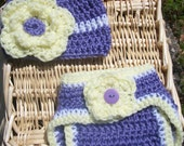 Super Cute Baby Girl Crochet Diaper Cover Set -Featuring- Hat With Chunky Flower, Diaper Cover With Purple Button - Size 0-3mo