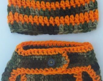 FREE SHIPPING-Baby Boy Crochet Diaper Cover Set-Striped Camo Hat-Camo Diaper Cover With Button - Size Newborn- 0-3mo-3-6mo-6-12mo-Photo Prop