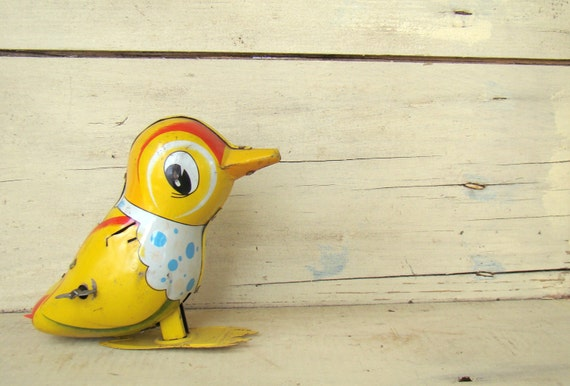 Wind-up Vintage Toy - Yellow Chick - Spring Home Decor