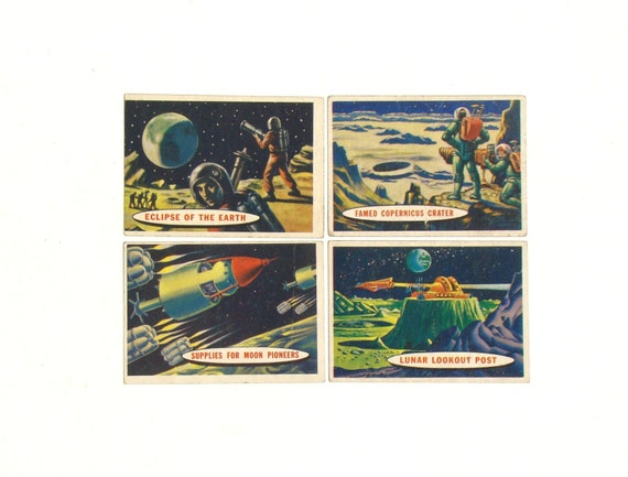 Earth Moon Vintage Home Decor Space Cards Set Of 4 By