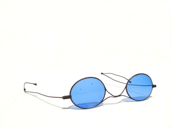 Antique Shades, Vintage Eyewear, Blue-tinted turn-pin temple - Home Decor
