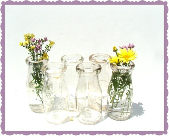 Vintage Milk Bottles - Half Dozen - Home Decor - Vases Party Decor