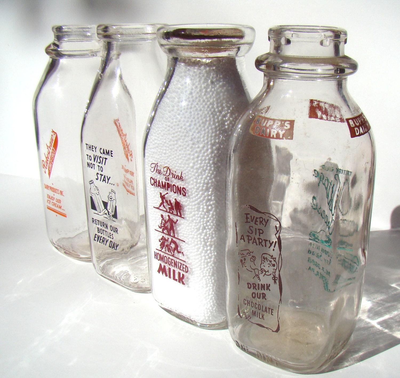 Vintage glass bottles small milk bottles for Retro glass bottles