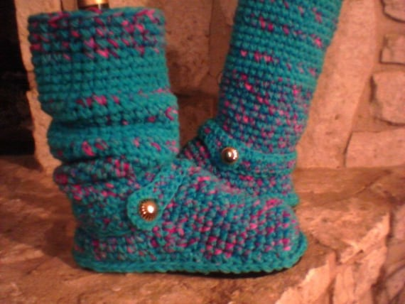 "Tall ""Confetti Candy"" Sweater Boots size Small (5, 5.5, 6, 6.5) Bright Turquoise, Pinks ""4in1"" Style"