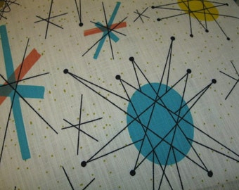 textile atomic STARBURST vtg franciscan salem north star FABRIC barkcloth mid century tempo 50s mid century print home decor fabric