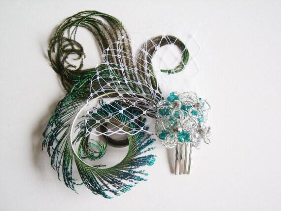 Green Peacock Bridal Fascinator - Bridal Peacock Fascinator - Bridal Peacock Headpiece - Bridal Headpiece