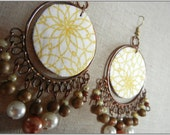 Copper chandelier bohemian earrings with wooden and pearl beads, fabric leather centre piece.