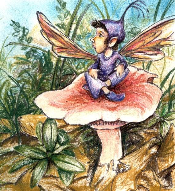 Canvas Print - 28x26cm - 'mushroom fairy' - children's fairytale story book drawing illustration fantasy artwork