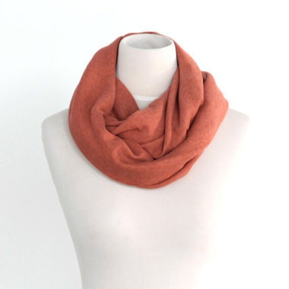 Heathered Rust Orange Chunky Infinity Circle Scarf Stretch Jersey Knit FREE SHIPPING