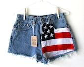 "Waist 28"" American Flag High Waisted Vintage Levi Shorts"