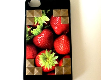 SALE-FREESHIPPING Strawberry Studded Iphone 4 or 4s hard case: Verizon, AT&T, or Sprint-free shipping